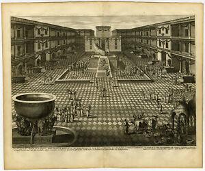 Antique Print-HOSANNA-SUKKOT-FEAST OF TABERNACLES-HEBREW-JEWS-Calmet-1725