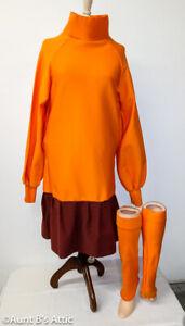 Velma Costume / Mystery Teen 3Pc Orange & Brown Drop Waist Dress & Leg Spats MD