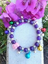 Lucky Elephant Amethyst Beads & Bells Chiming Charm Stretch Bracelet Fashion