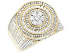 Men's 10K Yellow Gold Real Diamond Circular Cluster Fashion Ring 2 1/10 CT 19MM