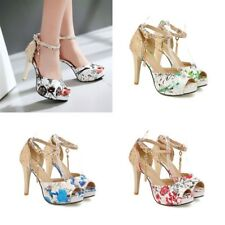 Womens Floral Slim High Heels Ankle Strap Peep Toes Platform Casual Sequin Shoes