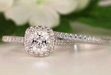 Real 14k white gold Halo Bridal 1.99ct Diamond Engagement ring wedding band