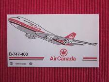 ANCIENNE CARTE DE VISITE AIR CANADA B-747-400  AVION AVIATION BOEING