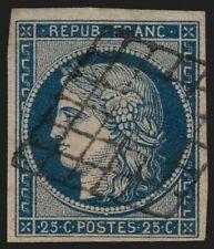 n°4a, Cérès 1850, 25c bleu-foncé, oblitéré grille - TB
