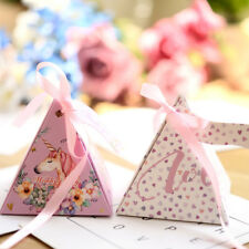 Triangle Pyramid Candy Box Festival Wedding Party Favour Gift Paper Box & Ribbon