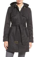 COLE HAAN LUXE DESIGNER Black Faux Leather Trim Trench Coat Size XL/ 16 AU $545