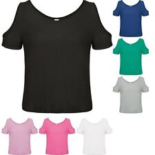 Womens Ladies Cold Shoulder Top Oversized T-shirt Summer Holiday Fashion Blouse