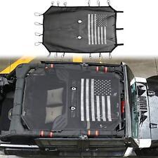 US Flag Polyester Mesh Sun Shade Soft Top Cover For Jeep Wrangler JK 4-Doors