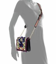 NWT $450 Tory Burch Embroidered Floral Flap Crossbody Bag Natural Red Blue Green