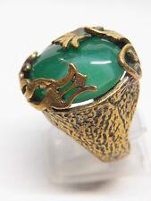 Modernist Designer Jade Jadeit Grün Schmuckstein Bronze  Ring Fingerring Nr.98