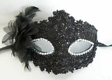 Venetian Masquerade Party Face Mask - Black with Silver Eyes - NEW