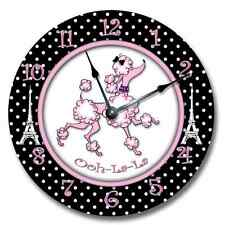 Wall Clock PINK PARIS POODLE Nursery Art Baby Toddler Girl Custom Room Decor_FT