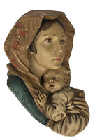 Vintage Chalkware Plaque Blessed Mother Mary Madonna & Holding Baby Child Jesus