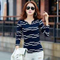 Cotton Stripe Womens Long Sleeve Tops Casual T Shirt Women T-Shirt Woman Clothes