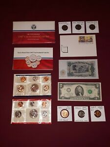 US COIN LOT COLLECTION MINT SET $2 half cent steel wheat  NICKELS no junk drawer