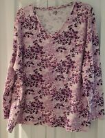 Falls Creek Sz 4x Women's Long Sleeve Cotton Crew Neck Shirt pink/purple floral