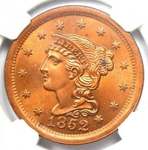 1852 Braided Hair Large Cent 1C Coin. Certified NGC Uncirculated Detail (UNC MS)