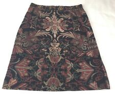 Territory Ahead Ladies Size 10 Skirt Black Red Tan Scrolls Velour Stretch A Line