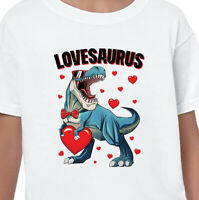 LOVESAURUS Dinosaur T-Shirt Gift Kids Birthday Cute T-Rex Dino Love Funny Top