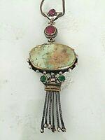 Artist Handmade Semi-Precious Stones Pendant Necklace Afghanistan Silver