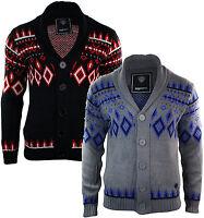 Mens Aztec Button Wool Knitted Chunky Cardigan Jumper Black Grey Shawl Collar