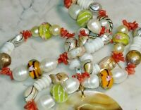 Freshwater Pearl Coral  Murano Glass Necklace With Sea Shell Pendant Handcrafted