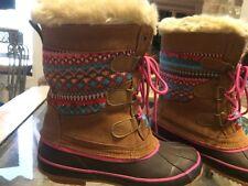 KHOMBU Women Sweater Duck Boot Leather Aztec Faux Fur Lace Up Tan SIZE 7 NEW