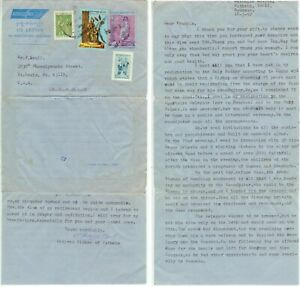1992 Myanmar Burma uprated Air Letter to Missouri - cover