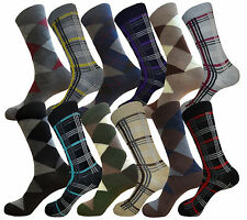 12 PK COTTON ARGYLE & PATTERN DRESS SOCKS SIZE 10-13 MENS FORMAL SOCKS