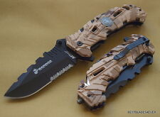 MTECH OFFICIALLY LICENSED USMC CAMO FOLDING RESCUE KNIFE WITH POCKET CLIP