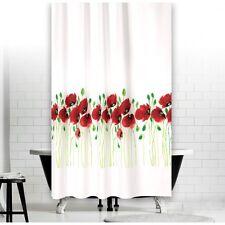 Cortina de ducha tela modelo flor amapola 240x180 cm Blanco Verde Rojo 240 x