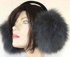 Ohrenschützer Pelz Blaufuchs Ohrenwärmer Mütze Fox Earwarmer Stahl GrauBlau
