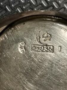 antike K&L Damenarmbanduhr Silber 935 Handaufzug,halbmond krone Bär