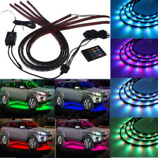 7 Color LED Strip Under Car Tube underglow Underbody System Neon Lights Kit 4pcs