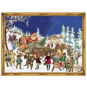 Victorian Santa in Sleigh with Reindeer German Christmas Advent Calendar Germany