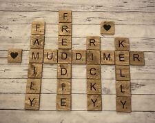 Oversized Stained Giant Large Big Rustic Wood Scrabble Letters Tiles Memory Wall
