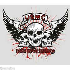 MARINE CORPS USMC DEATH BEFORE DISHONOR SKULL WINGS BIKER 5 INCH DECAL STICKER