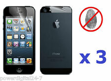 3x Front & 3x Back Anti-Glare Antiglare Screen Protector for iPhone 5 5th Gen