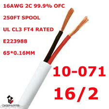 250FT UL SPEAKER CABLE 16AWG WIRE CL2 CL3 IN WALL GAUGE 2 CONDUCTOR AUDIO 16GA