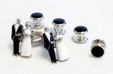NEW Mens Silver Groom & Bride Cuff Links Shirt Studs Formal Tuxedo Wedding Set