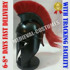 Greek Corinthian Helmet with Red Plume, Armor Sca Medieval Knight Spartan Helmet