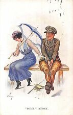 POSTCARD  COMIC   WWI    Military  Officer  Some  Story  ...        ELLAM