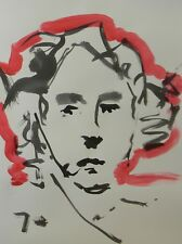 JOSE TRUJILLO - MODERN ABSTRACT EXPRESSIONIST INK WASH RED Portrait ORIGINAL
