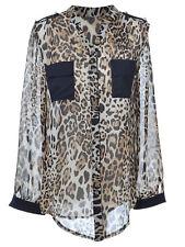 Anna-kaci S/m Fit Brown Black Sheer Chiffon L/s Leopard Print Button Down Blouse
