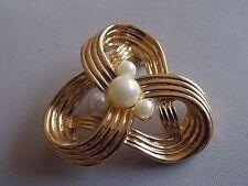 Tono Oro llamativo & Imitación Perla Broche Nudo Celta