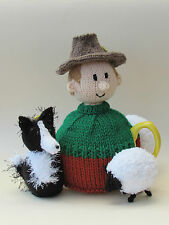 Un hombre y su perro, ovejas agricultor Cubre Tetera Tejer patrón-Knit su propio!