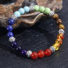 Heißes 7 Farben Chakra Lava-Felsen-Steinbuddha-Korn-Gebet-elastisches Armband