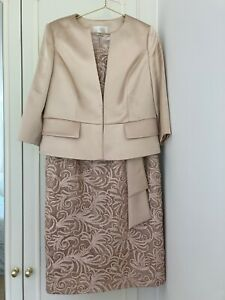 JACQUES VERT CHAMPAGNE GOLD RIBBON LACE DRESS SUIT SIZE 14 IMMACULATE CONDITION