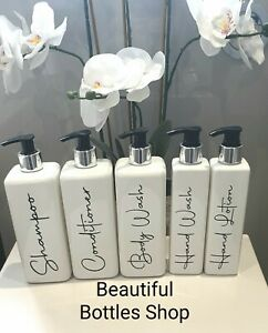 Mrs Hinch Grey White Square Bathroom Bottles Shampoo Conditioner Hand Wash etc