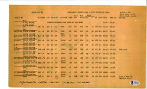 Jack Widowsky Signed Navigators Flight Plan BAS D87627 B-29 Top Secret WWII